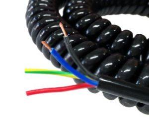 Spiral Spring Cable ขนาด 4core, 0.5sqmm. ยืดออก 5ม.